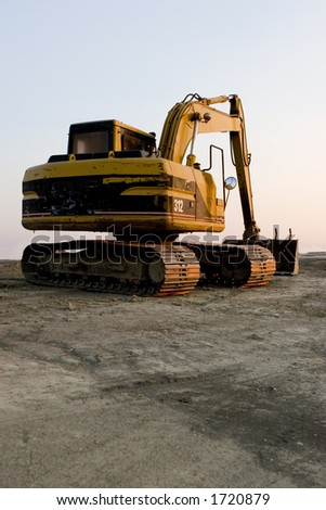 back view of Excavator - stock photo