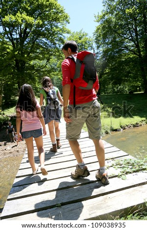 Back view of family walking on a bridge