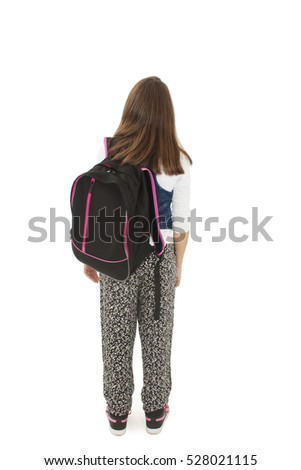 Back view of female student. Isolated on white background