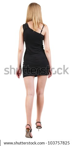 back view of going blonde woman  in black dress. beautiful girl in motion.  backside view of person. Isolated over white background. Rear view people collection. - stock photo