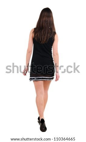 back view of going brunette woman  in  dress. beautiful girl in motion.  backside view of person. Isolated over white background. Rear view people collection. - stock photo