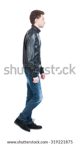 Back view of going  handsome man in jacket.  walking young guy . Rear view people collection.  backside view of person.  Isolated over white background.  The guy in the course sad goes left. - stock photo