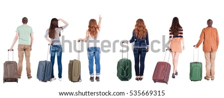 Back view of group  with  suitcase.  Rear view people collection.  backside view of person.  Isolated over white background.