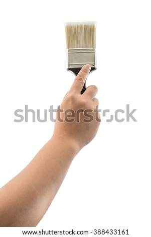 back view of hand holding paint brush with plastic black handle isolated on a white background