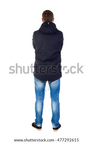 Back view of handsome man in winter jacket  looking up.   Standing young guy in parka. Rear view people collection.  backside view of person.  Isolated over white background. Man in warm jacket put