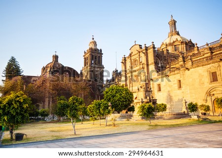 Back view of inner yard of Metropolitan cathedral in Mexico City - stock photo