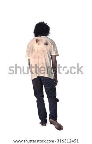 Back view of male zombie isolated over white background - stock photo