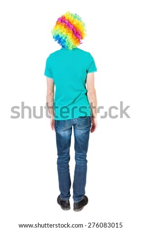 Back view of man in clown wig. Standing young guy. Rear view people collection.  backside view of person.  Isolated over white background. - stock photo