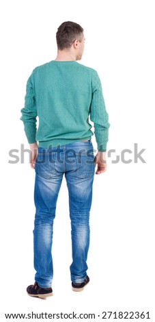Back view of man in jeans. Standing young guy. Rear view people collection.  backside view of person.  Isolated over white background. - stock photo