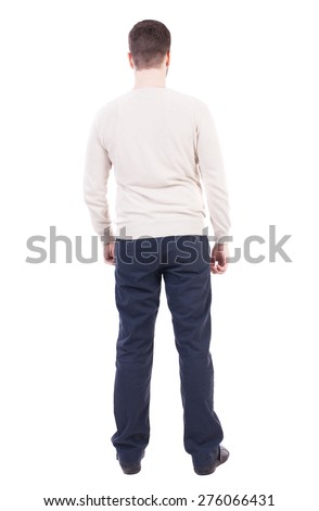 Back view of man in jeans. Standing young guy. Rear view people collection.  backside view of person.  Isolated over white background. Man in trousers and jacket standing with her hands. - stock photo