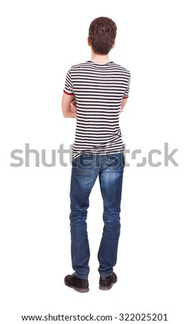 Back view of man in jeans. Standing young guy. Rear view people collection.  backside view of person.  Isolated over white background. The guy in the striped shirt with her arms folded standing. - stock photo