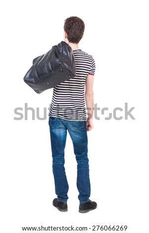 Back view of man in jeans with a bag on his shoulder. Standing young guy. Rear view people collection.  backside view of person.  Isolated over white background. - stock photo