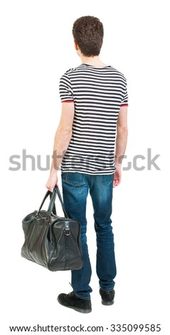 Back view of man in jeans with bag in his hand. Standing young guy. Rear view people collection.  backside view of person.  Isolated over white background.