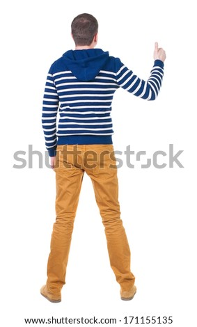 Back view of  man in sweater shows thumbs up.   Rear view people collection.  backside view of person.  Isolated over white background. - stock photo