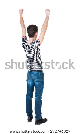 Back view of  man.  Raised his fist up in victory sign.   Rear view people collection.  backside view person.  Isolated over white background. The guy in the striped violently happy raising fists up. - stock photo