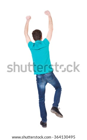 Back view of  man.  Raised his fist up in victory sign.   Rear view people collection.  backside view of person.  Isolated over white background. guy happily waving his hands and feet. - stock photo
