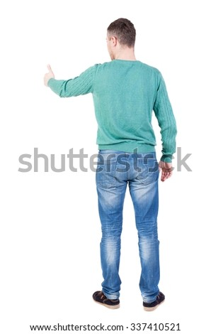 Back view of  man thumbs up. Rear view people collection. backside view of person. Isolated over white background.