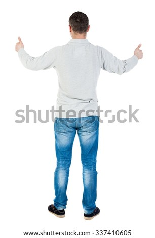 Back view of  man thumbs up. Rear view people collection. backside view of person. Isolated over white background. A guy in a gray jacket showing thumbs up with both hands. - stock photo