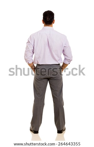 back view of middle aged businessman isolated on white background - stock photo