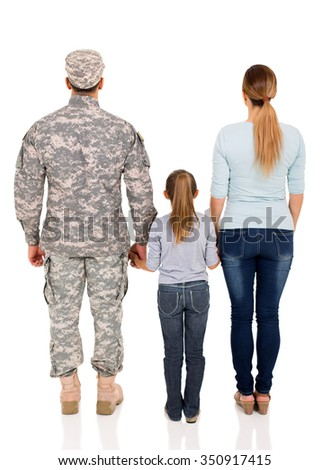 back view of military family on white background