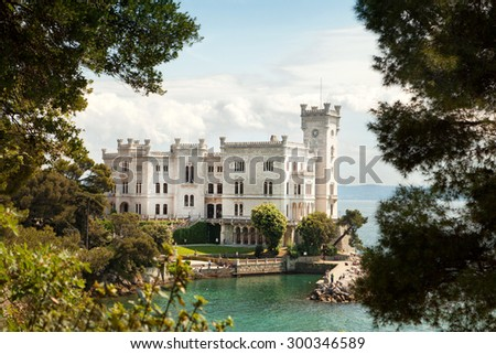 Back view of Miramare castle, Trieste, Italy - stock photo