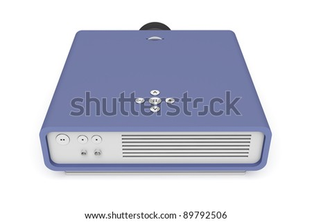 Back view of multimedia projector on white background - stock photo