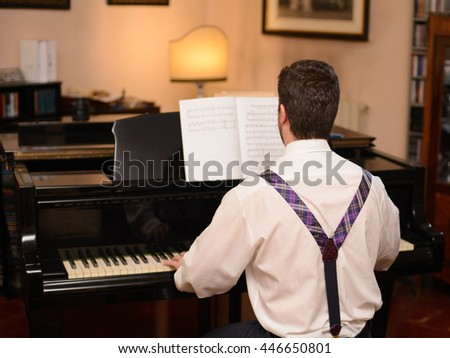 Back view of music performer playing his piano - stock photo