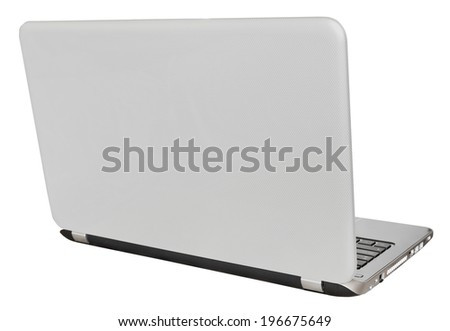 back view of open laptop display cover isolated on white background - stock photo