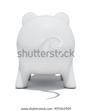 Back view of piggy bank isolated on white background. 3D rendering