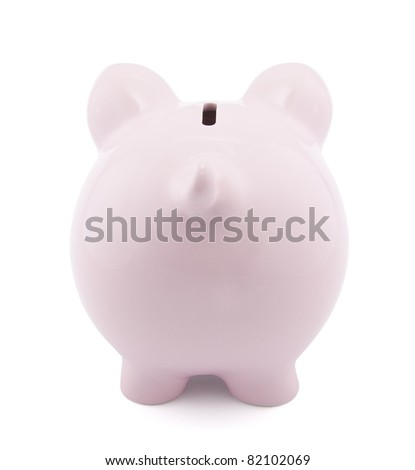 Back view of pink piggy bank with clipping path - stock photo