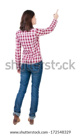 Back view of  pointing woman. beautiful brunette  girl in red checkered shirt. Rear view people collection.  backside view of person.  Isolated over white background. - stock photo