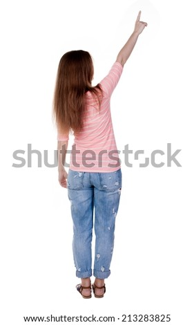 Back view of  pointing woman. beautiful redhaired  girl . girl shows something to someone. Rear view people collection.  backside view of person.  Isolated over white background