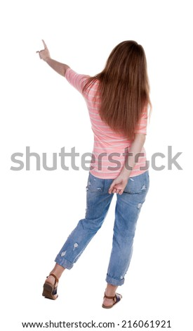 Back view of  pointing woman. beautiful redhead girl. Rear view people collection.  backside view of person.  Isolated over white background. - stock photo