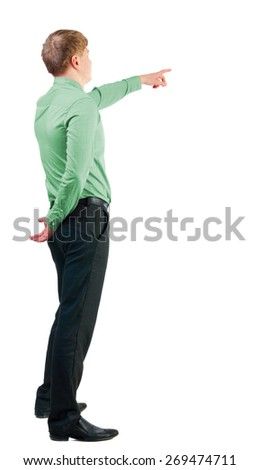 Back view of  pointing young business men in  red shirt. blonde businessman  gesture. Rear view people collection.  backside view of person.  Isolated over white background.  - stock photo