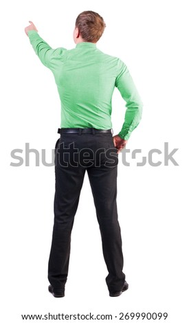Back view of  pointing young business men in  red shirt. blonde businessman  gesture. Rear view people collection. businessman with a sports figure demanded indicates something  - stock photo