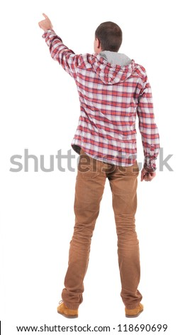 Back view of  pointing young men in  plaid shirt with hood. Young guy  gesture. Rear view people collection.  backside view of person.  Isolated over white background. - stock photo