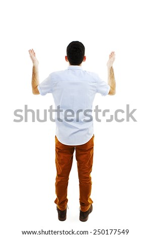 Back view of pointing young men in shirt and pants. Young guy gesture. Rear view people collection. backside view of person. Isolated over white background. - stock photo