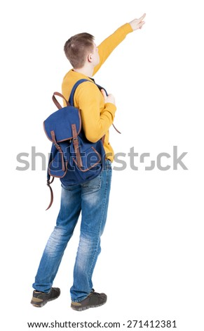 Back view of  pointing young men with backpack.  Young guy gesture. Rear view people collection.  backside view of person.  Isolated over white background.  - stock photo