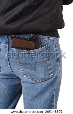 back view of robber with handgun isolated on white background - stock photo