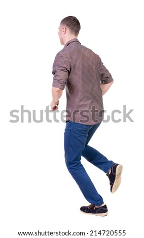 Back view of running man in brown shirt. Walking guy in motion. Rear view people collection. Backside view of person. Isolated over white background. - stock photo