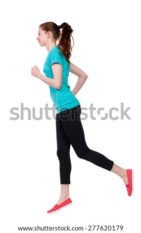 back view of running sport woman. beautiful girl in motion. backside view of person.  Rear view people  collection. Isolated over white background. Girl in sportswear jogging - stock photo