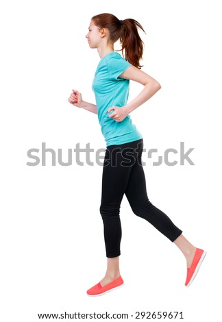 back view of running sport woman. beautiful girl in motion. backside view of person.  Rear view people  collection. Isolated over white background. Sport girl in black tights engaged in running. - stock photo