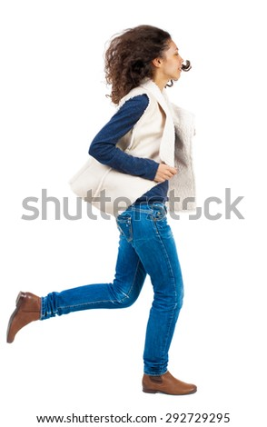 back view of running  woman. beautiful girl in motion. backside view of person.  Rear view people collection. Isolated over white background. Girl in sheep rushes right with fluttering hair. - stock photo