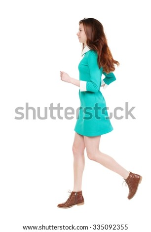 back view of running  woman. beautiful girl in motion. backside view of person.  Rear view people collection. Isolated over white background. smiling girl runs right - stock photo