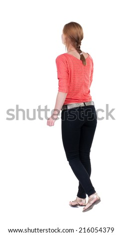 back view of running  woman in jeans. beautiful blonde girl in motion. backside view of person.  Rear view people collection. Isolated over white background. - stock photo