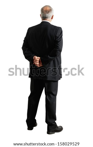 back view of senior businessman. isolated on white background