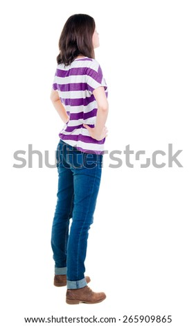 back view of standing young beautiful  brunette woman in yellow pullover. girl  watching. Rear view people collection.  backside view of person.  Isolated over white background. - stock photo