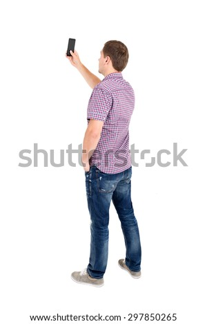 Back view of standing young men and using a mobile phone. Rear view people collection. Backside view of person. Isolated over white background - stock photo