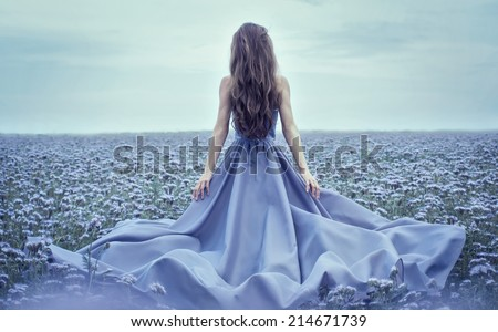 Back view of standing young woman in blue dress - stock photo