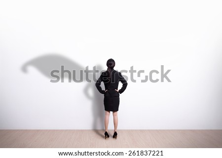 Back view of Superhero business woman look white wall background, great for your design or text, asian - stock photo